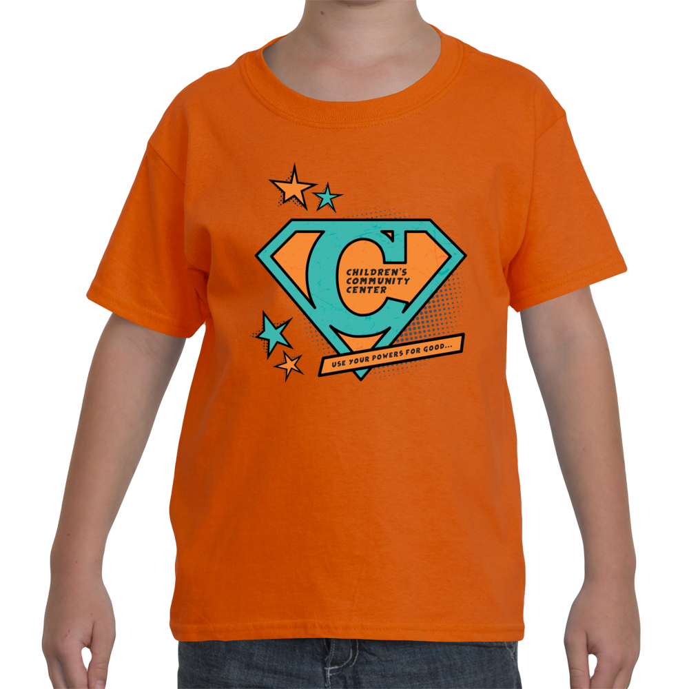 big kid s t shirt with super c in orange and turquoise the ccc store