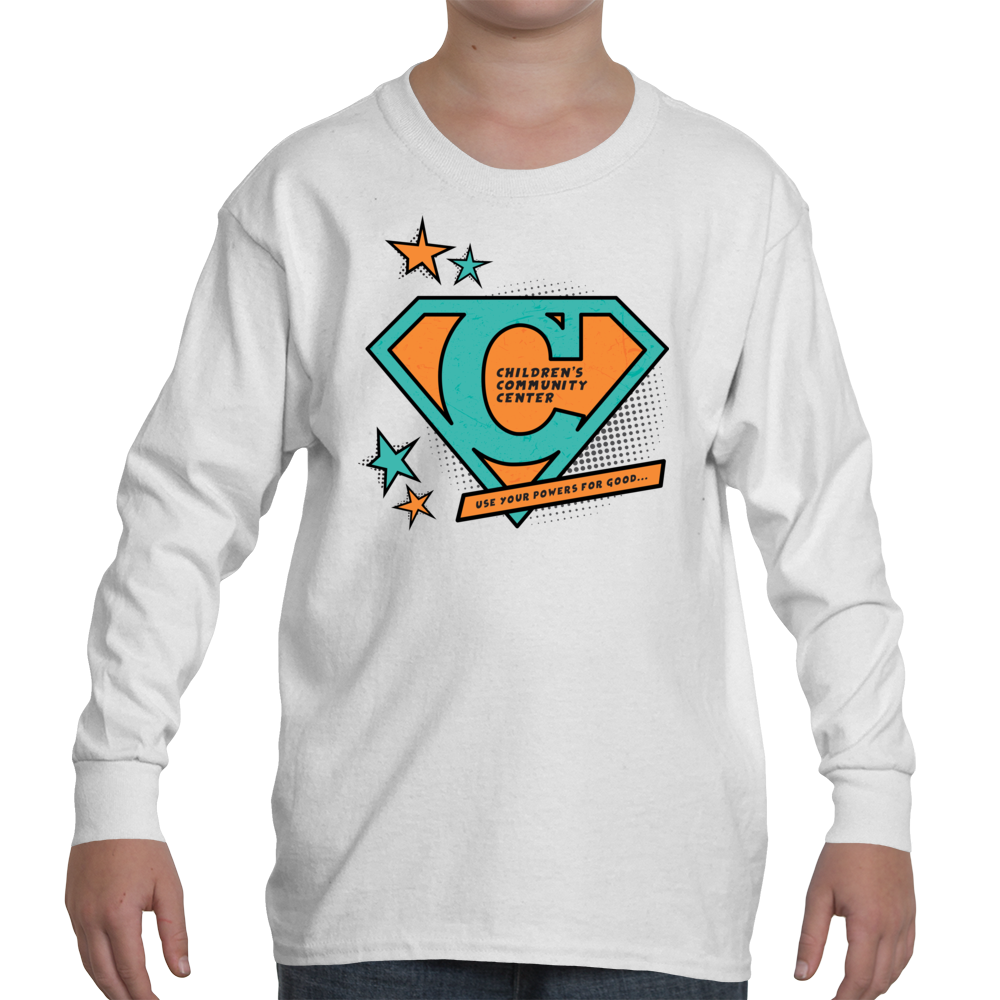 big kid s long sleeve t shirt with super c in turquoise and orange